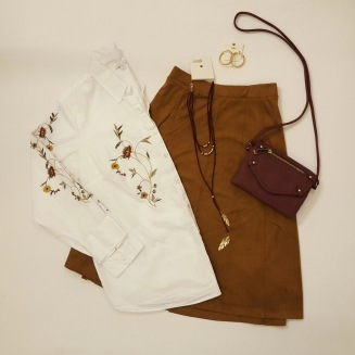 Crisp White Button Down and Suede Skirt
