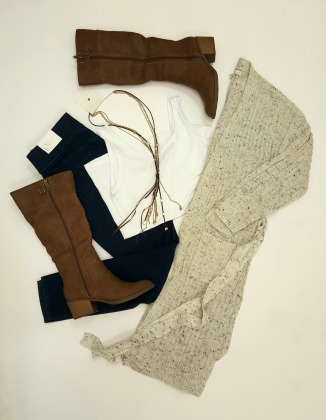 Duster Sweater and Tall Brown Boots