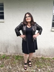 Sequined Bomber and Little Black Dress