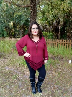 Burgandy Fringed Poncho and Leggings