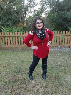 Holiday Look with Polka Dot Scarf