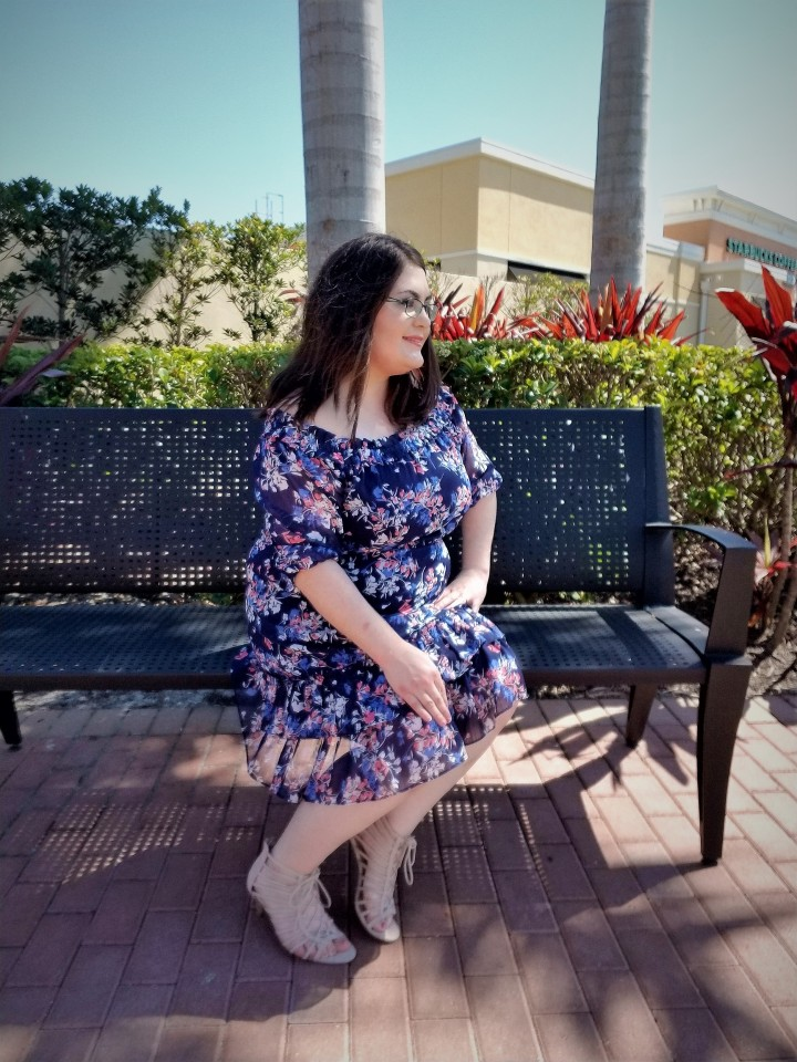 floral dress on bench